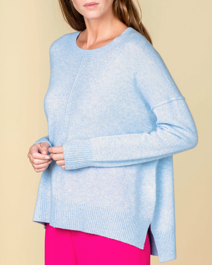 pull col rond coutures apparentes | 100% cachemire | ciel | kenza