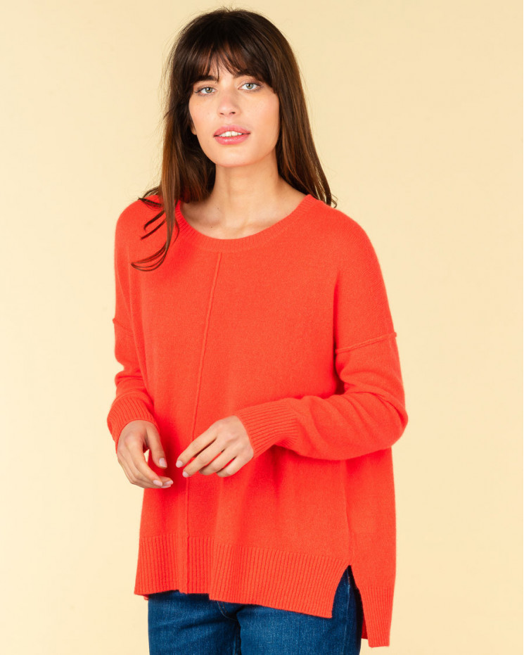 pull col rond coutures apparentes   100% cachemire   corail fluo   kenza