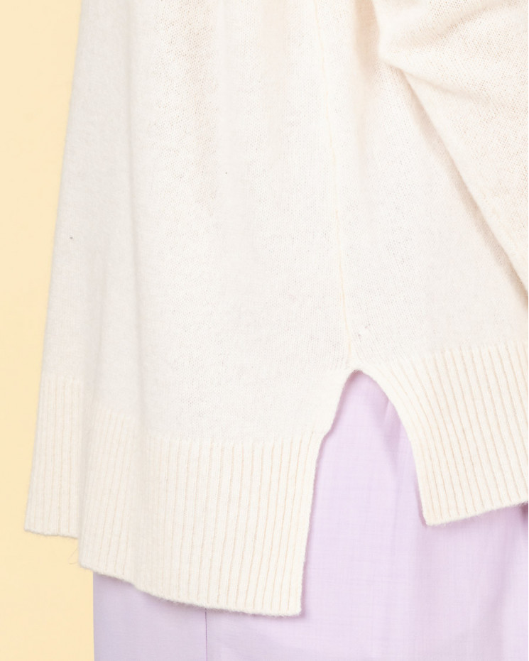 pull col rond coutures apparentes | 100% cachemire | ecru | kenza