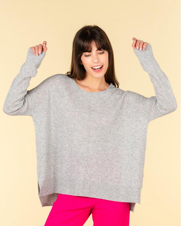 pull col rond coutures apparentes | 100% cachemire | gris chine | kenza