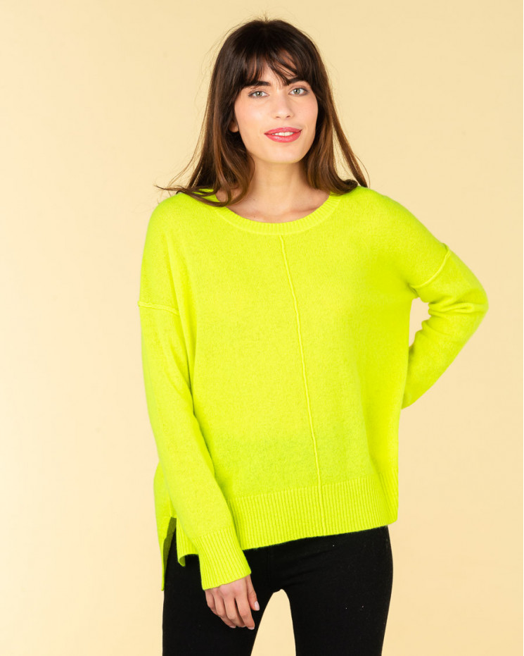 pull col rond coutures apparentes   100% cachemire   jaune fluo   kenza