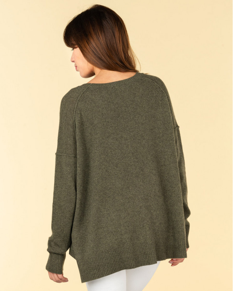 pull col rond coutures apparentes | 100% cachemire | kaki | kenza