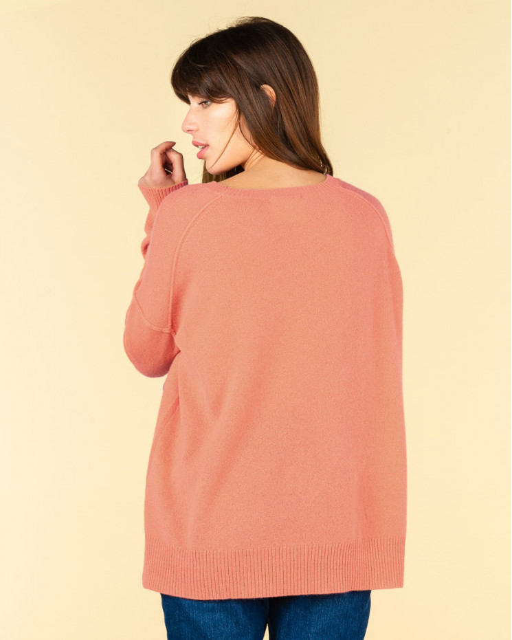 pull col rond coutures apparentes | 100% cachemire | melon | kenza