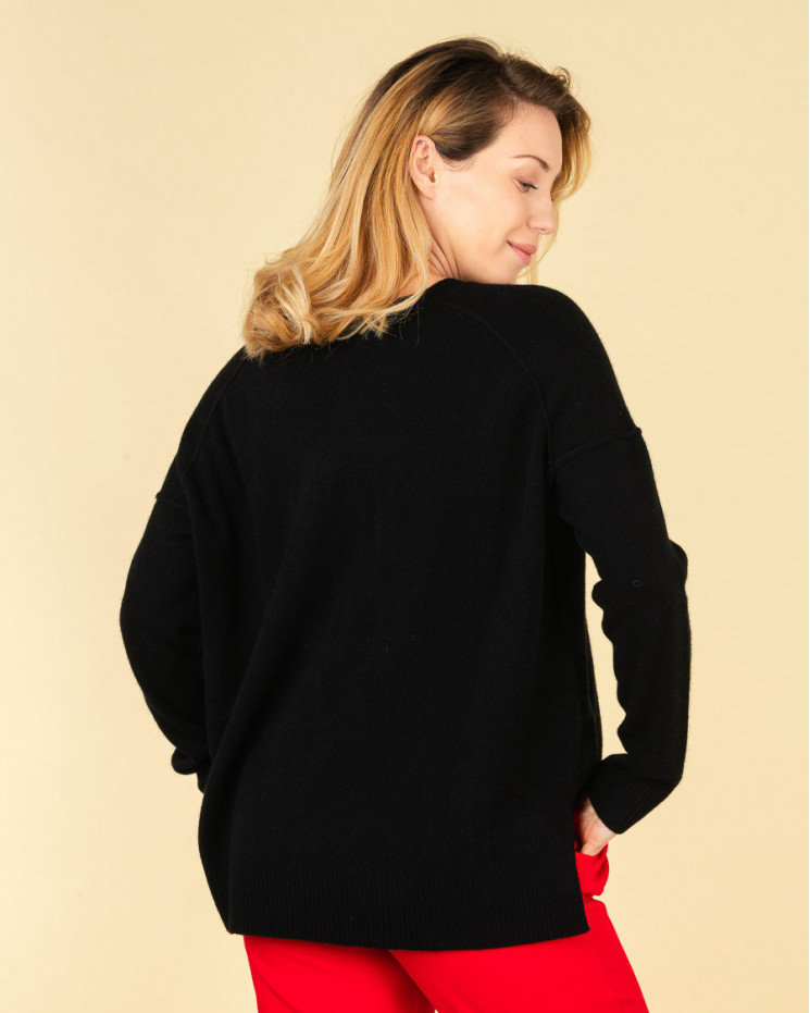 pull col rond coutures apparentes   100% cachemire   noir   kenza