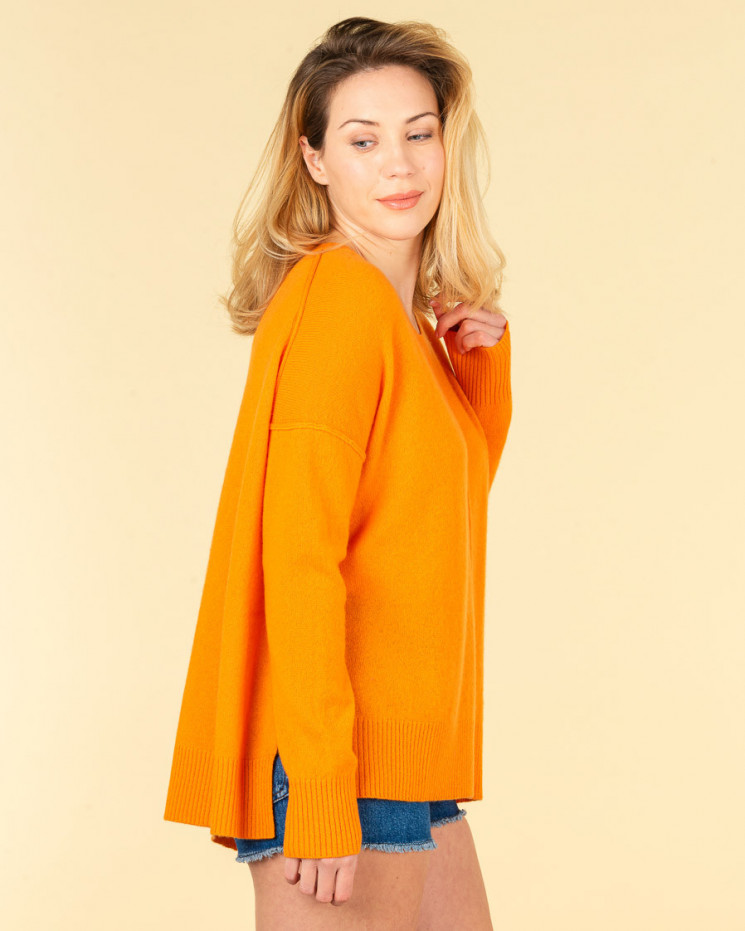 pull col rond coutures apparentes | 100% cachemire | papaye | kenza