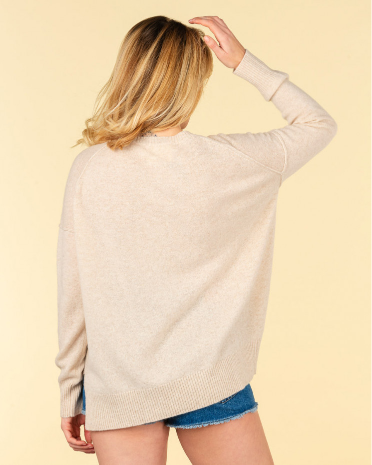 pull col rond coutures apparentes   100% cachemire   beige chine   kenza