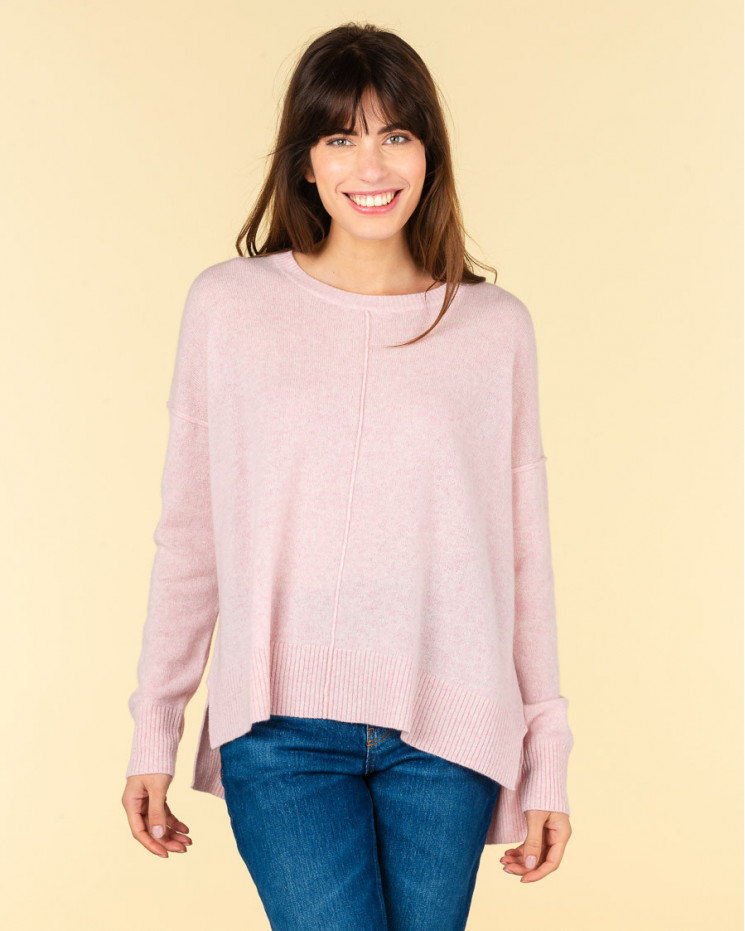 pull col rond coutures apparentes   100% cachemire   poudre chine   kenza