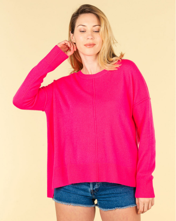 pull col rond coutures apparentes | 100% cachemire | rose fluo | kenza