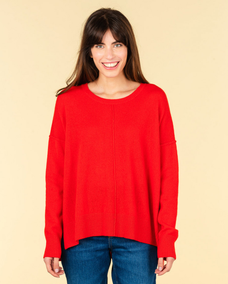 pull col rond coutures apparentes   100% cachemire   rubis   kenza