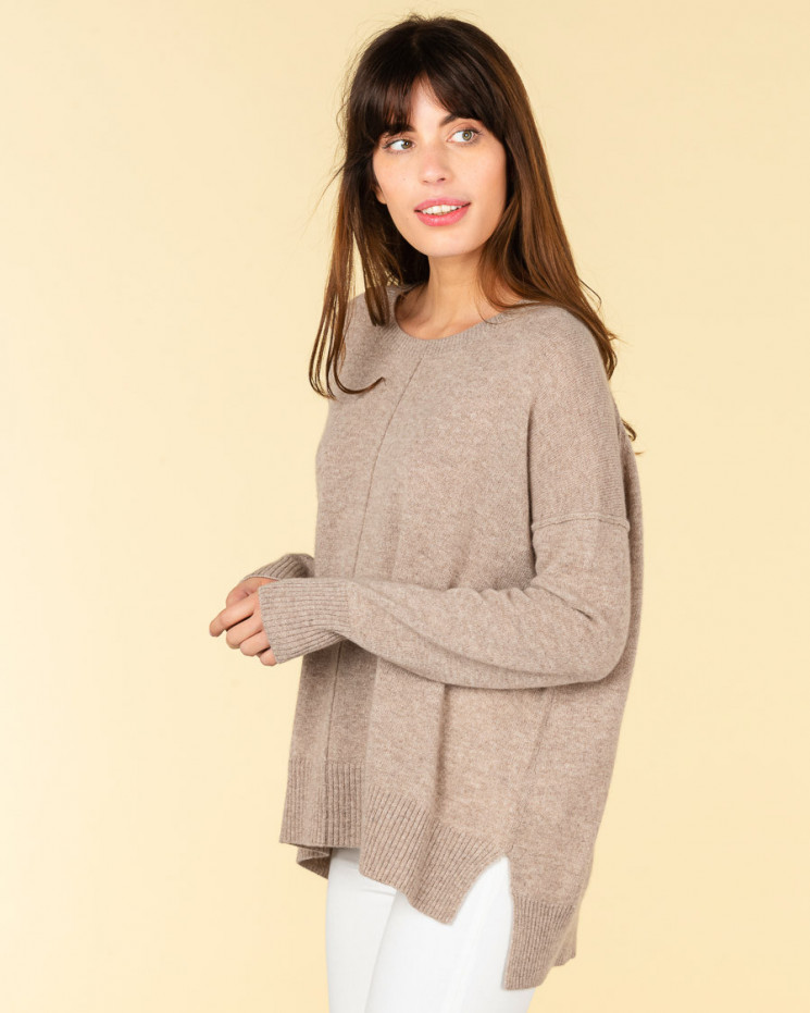 pull col rond coutures apparentes | 100% cachemire | taupe | kenza