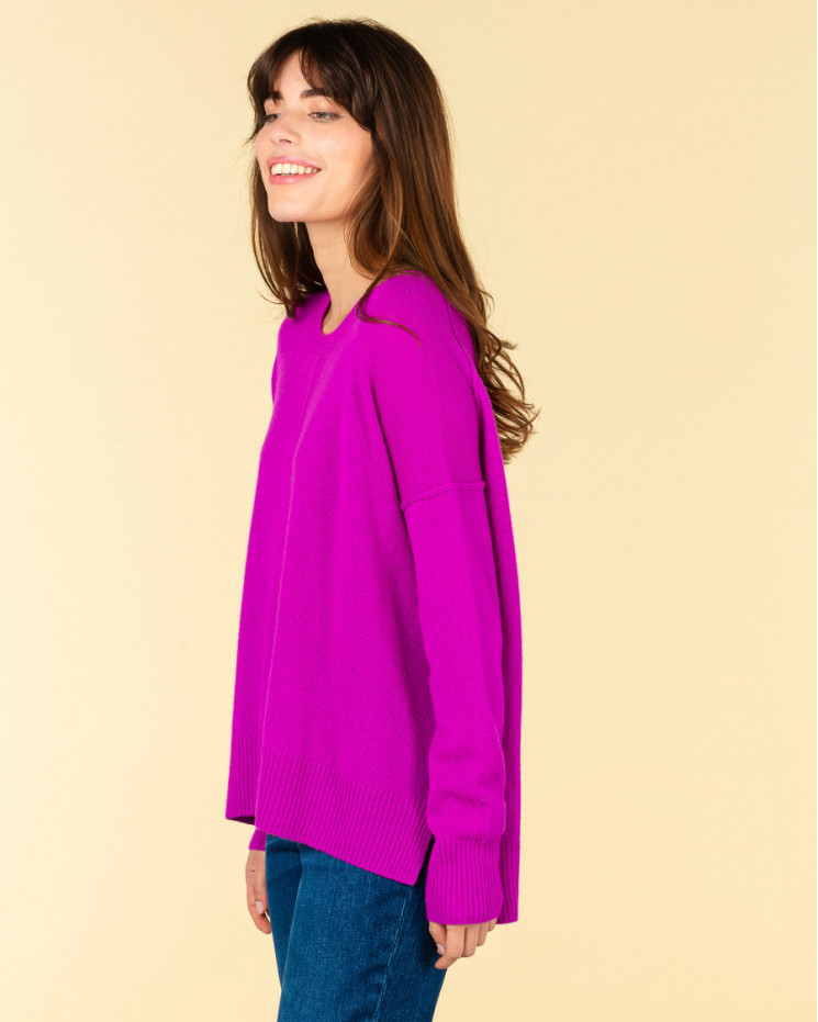 pull col rond coutures apparentes   100% cachemire   violet fluo   kenza