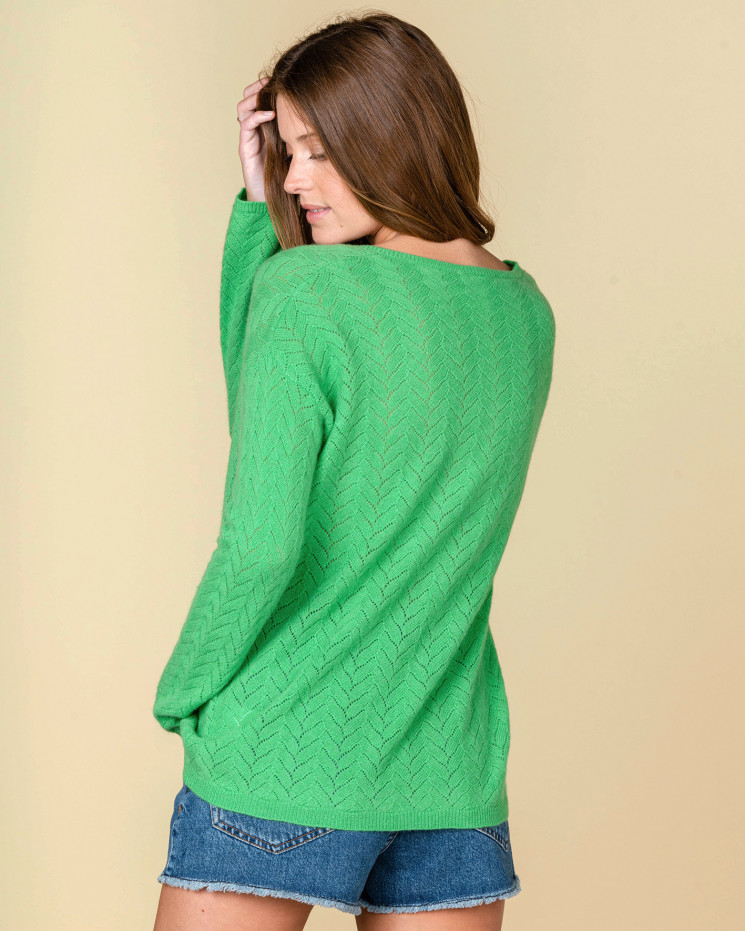 pull col V maille pointelle   100% cachemire   amande   chiara