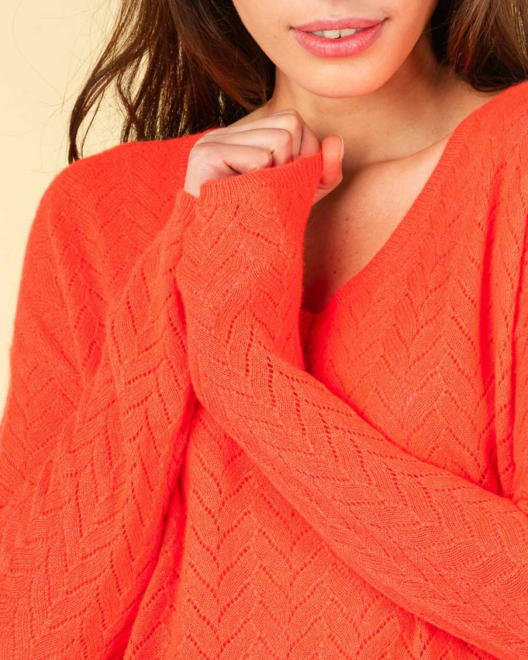 pull col V maille pointelle   100% cachemire   corail fluo   chiara