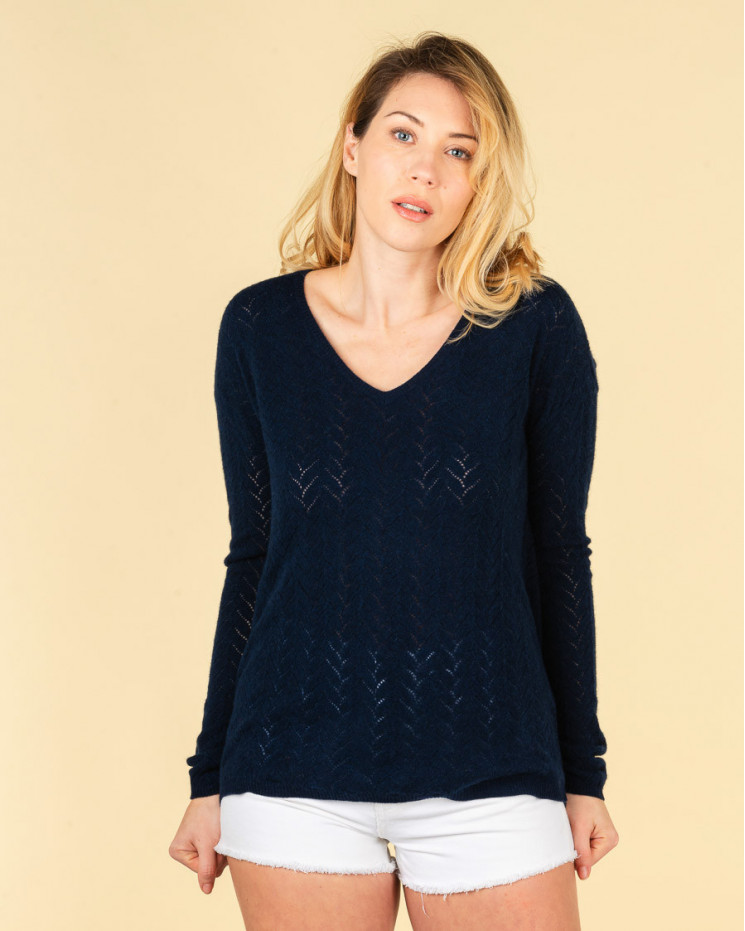 pull col V maille pointelle   100% cachemire   nuit   chiara