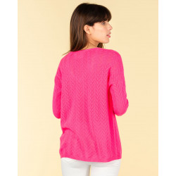 pull col V maille pointelle | 100% cachemire | papaye | chiara
