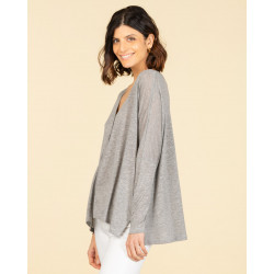 cardigan oversize col V | lyocell & lin | gris chine | mae