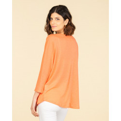t-shirt col rond ample manches 3/4 | 85% lin recyclé - 15% lin | nuit | valentine