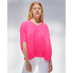 pull col V ample | 100% cachemire | rose fluo | kate