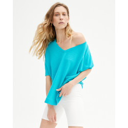 poncho col V à manches courtes | 85% bamboo - 15% cachemire | turquoise | regina