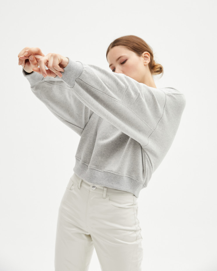 Women's cotton round-neck sweater long sleeves oversize - gris chiné clair - louison - absolut cashmere (front)
