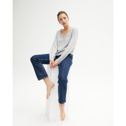 Women's cashmere V-neck sweater puffy sleeves - gris chiné clair - céline - absolut cashmere (front)