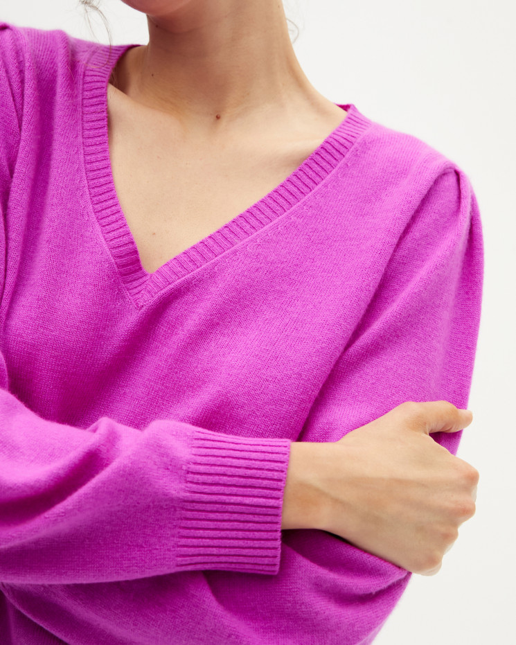 Women's cashmere V-neck sweater puffy sleeves - violet fluo - céline - absolut cashmere (front)