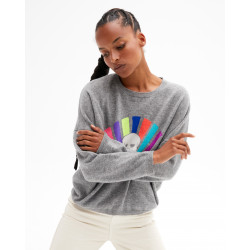Women's cashmere round-neck sweater long sleeves skull artwork - gris chiné foncé - thelma - absolut cashmere (front)
