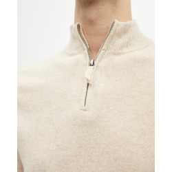Men's cashmere trucker-neck sweater long sleeves - beige chiné - diego - absolut cashmere (zoom)