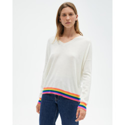 Women's cashmere V-neck sweater long sleeves multicolores ribs - bleu profond - pauline - absolut cashmere (front)