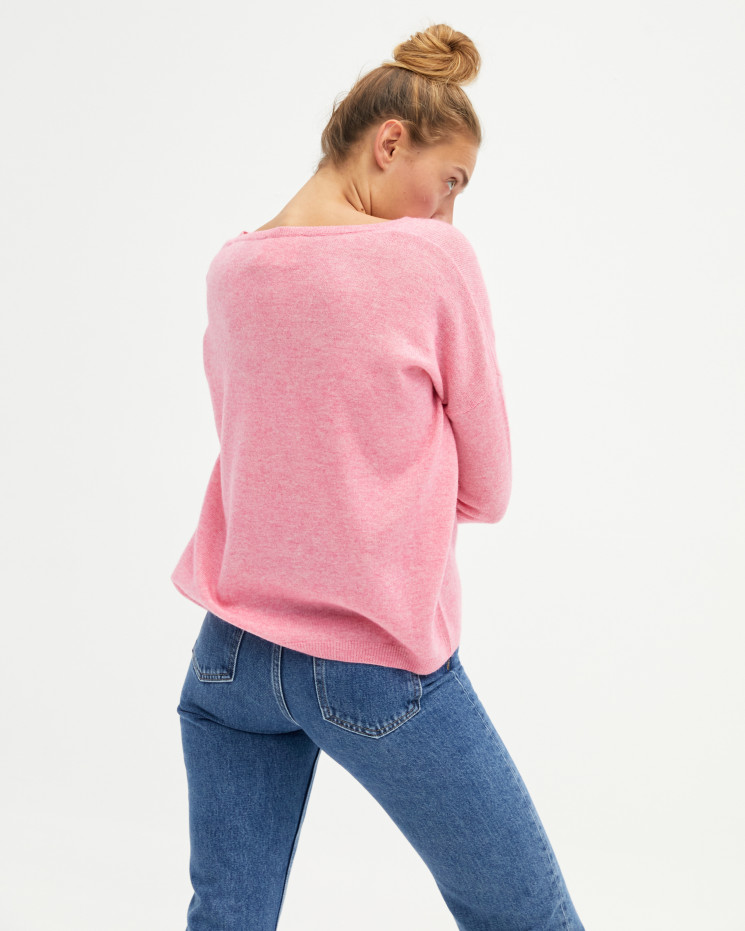 Pull femme cachemire col V oversize manches longues - ballerine - angèle - absolut cashmere (avant)