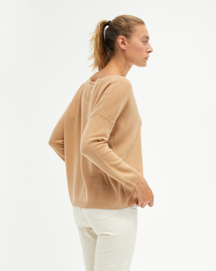 Pull femme cachemire col V oversize manches longues - camel - angèle - absolut cashmere (avant)