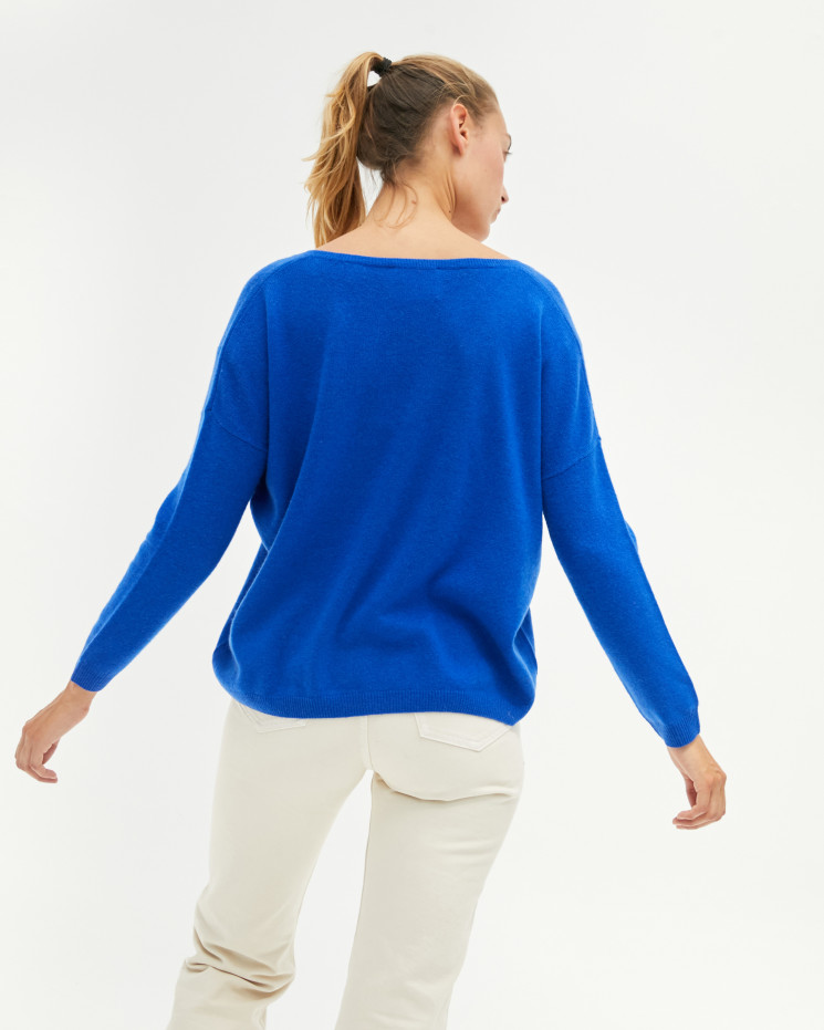 Women's oversized cashmere V-neck sweater long sleeves - cobalt - angèle - absolut cashmere (front)