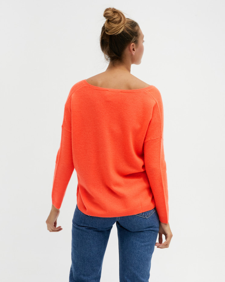 Women's oversized cashmere V-neck sweater long sleeves - corail fluo - angèle - absolut cashmere (front 2)