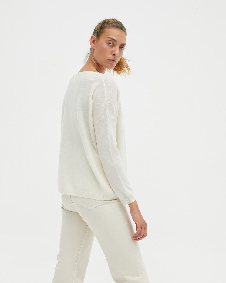 Women's oversized cashmere V-neck sweater long sleeves - écru - angèle - absolut cashmere (front)