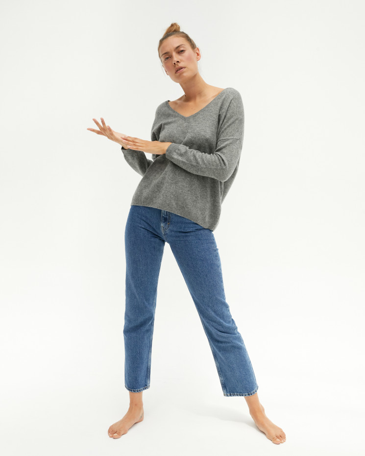 Women's oversized cashmere V-neck sweater long sleeves - gris chiné clair - angèle - absolut cashmere (front)
