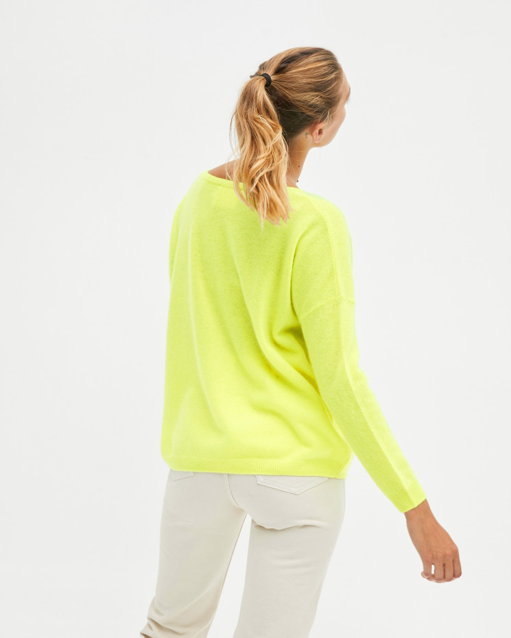 Pull femme cachemire col V oversize manches longues - jaune fluo - angèle - absolut cashmere (avant)