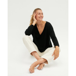 Women's oversized cashmere V-neck sweater long sleeves - rose fluo - angèle - absolut cashmere (front)