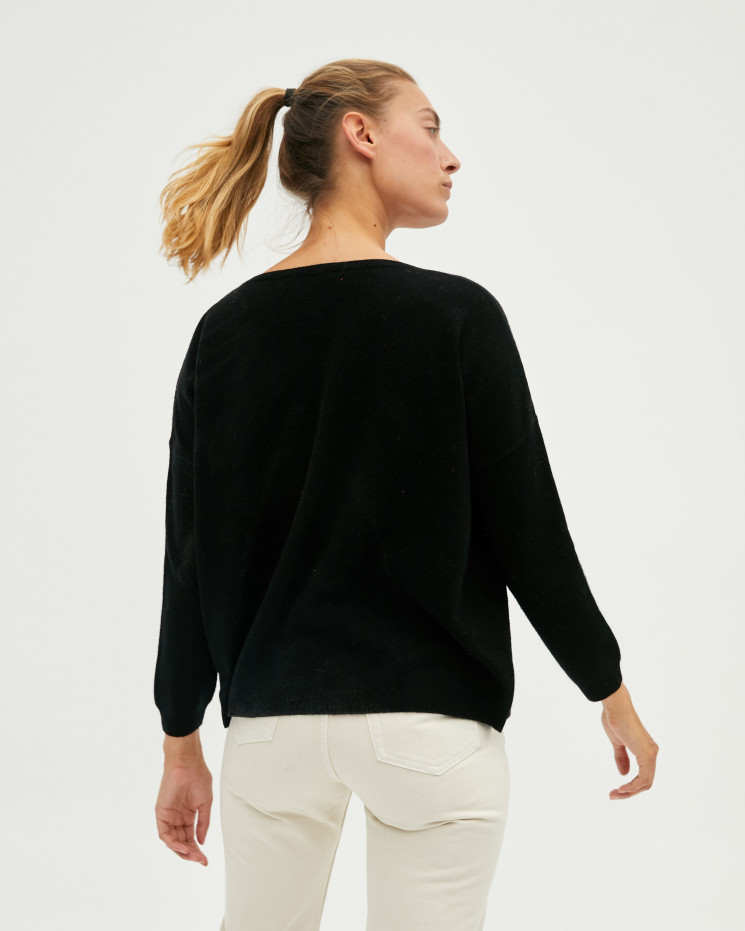 Women's oversized cashmere V-neck sweater long sleeves - noir - angèle - absolut cashmere (front)