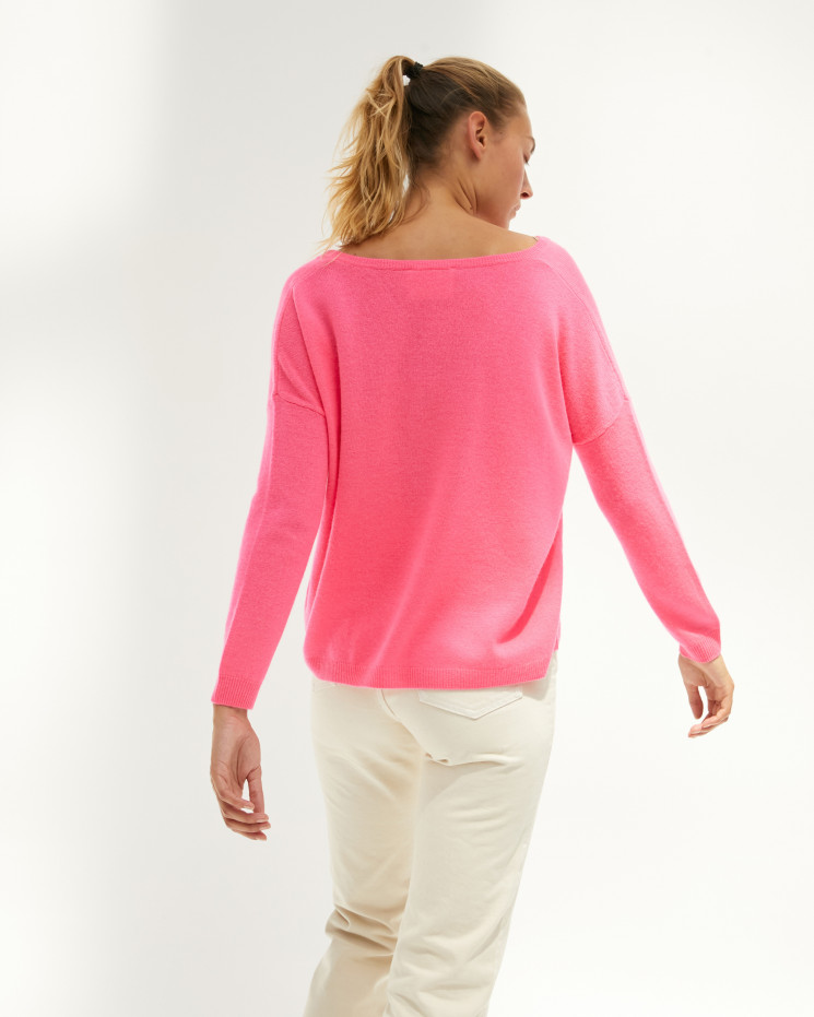 Pull femme cachemire col V oversize manches longues - rose fluo - angèle - absolut cashmere (avant)