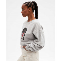 Women's cotton round-neck sweater long sleeves - gris chiné clair - time - absolut cashmere (front)