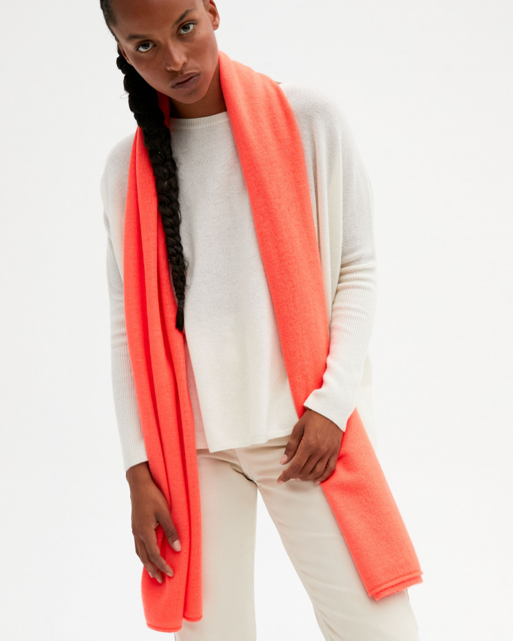 Women's cashmere scarf rolled up finishes - corail fluo - anaïs - absolut cashmere (front)