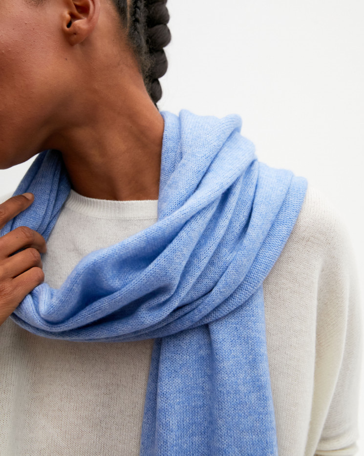 Women's cashmere scarf rolled up finishes - écume - anaïs - absolut cashmere (front)