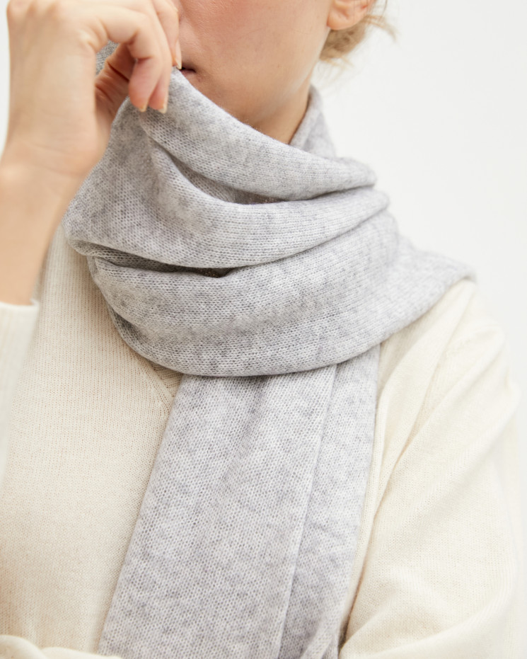 Women's cashmere scarf rolled up finishes - gris chiné clair - anaïs - absolut cashmere (front)