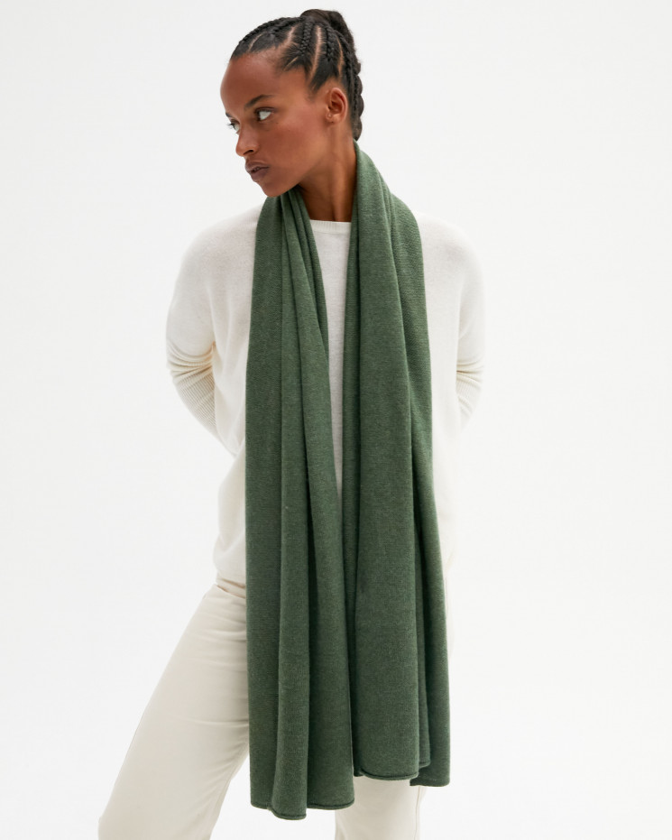 Women's cashmere scarf rolled up finishes - kaki - anaïs - absolut cashmere (front)