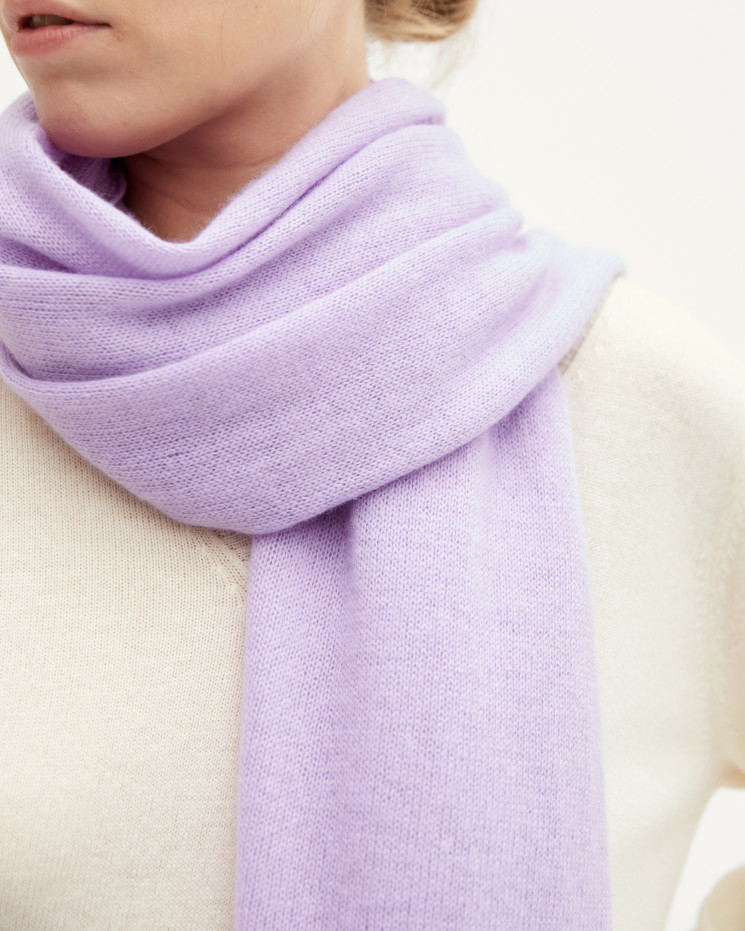 Women's cashmere scarf rolled up finishes - pervenche - anaïs - absolut cashmere (front)