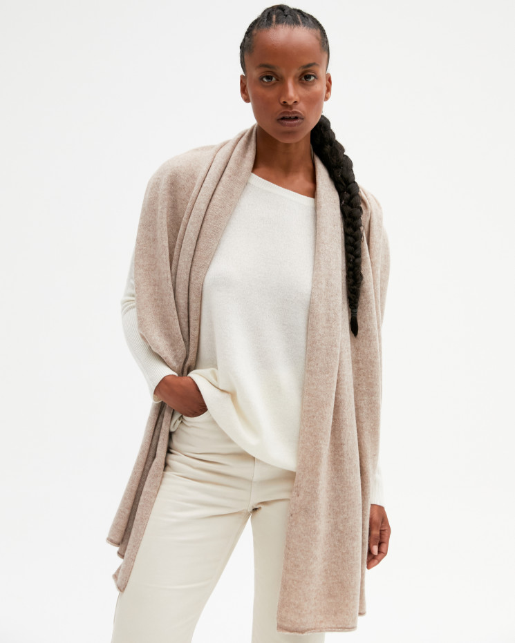 Women's cashmere scarf rolled up finishes - taupe chiné - anaïs - absolut cashmere (front)
