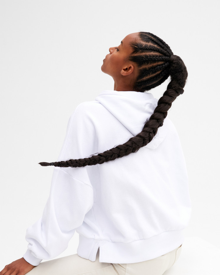 Women's cotton hoodie sweater long sleeves - blanc - future legend - absolut cashmere (front)