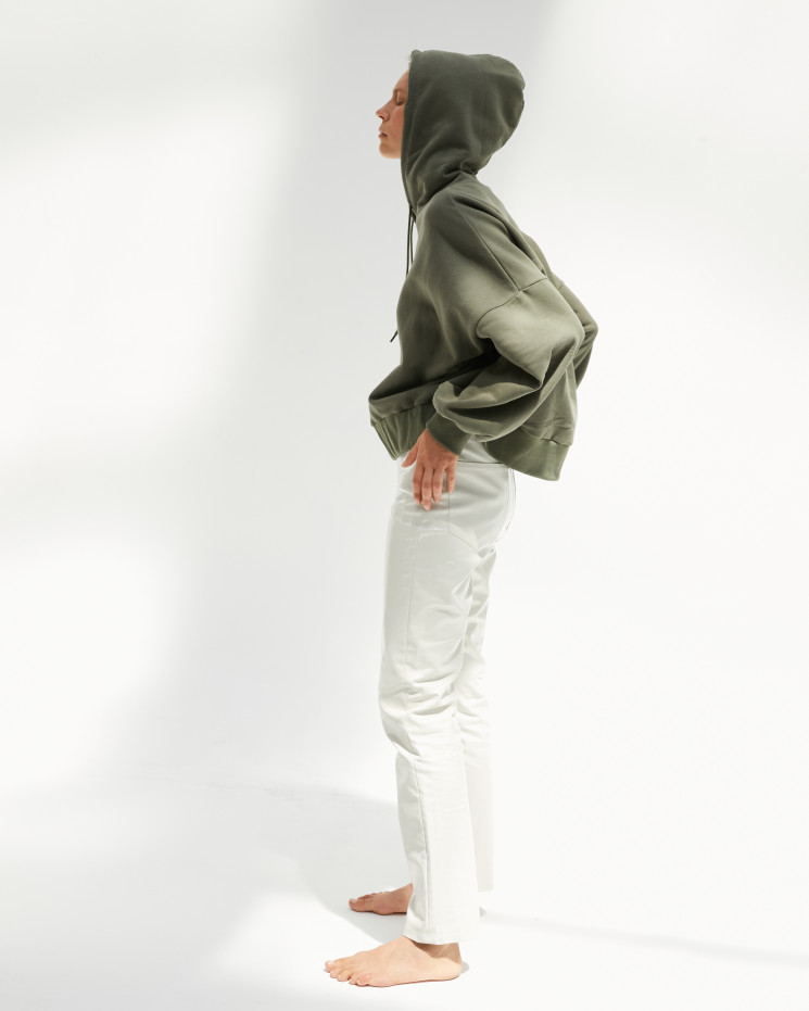 Women's cotton hoodie sweater long sleeves oversize - gris chiné clair - lorette - absolut cashmere (front)