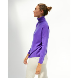 Women's large cashmere turtleneck sweater long sleeves - corail fluo -ambre - absolut cashmere (front)