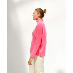 Women's large cashmere turtleneck sweater long sleeves - rose fluo - ambre - absolut cashmere (side)